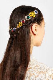 Dolce & GabbanaSerre-tête doré orné de cristaux Swarovski et d'émail