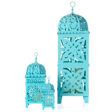 Casablanca Lanterns - Aquamarine from Z Gallerie? Perfect for an outdoor summer dining table.