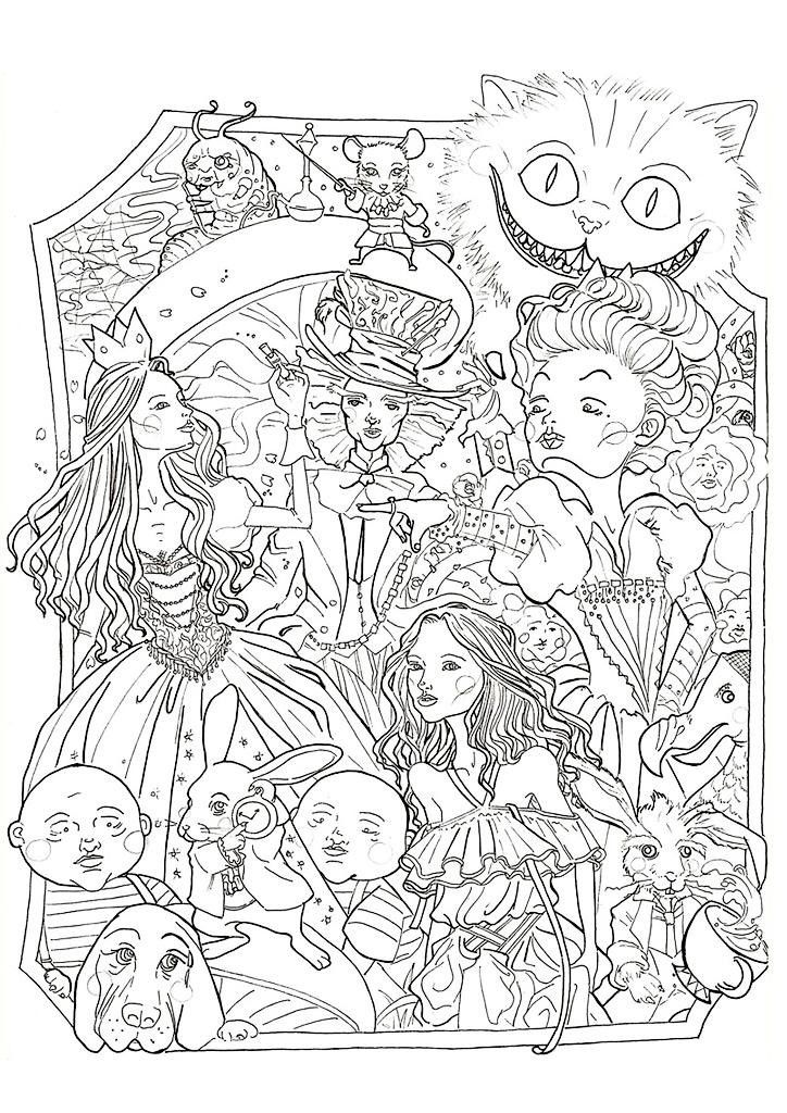 Alice In Wonderland Coloring Book For Adults