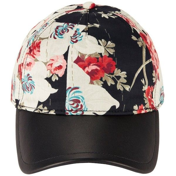 Rag & Bone Women's Floral Printed Baseball Cap ($125) ❤ liked on Polyvore featuring accessories, hats, black, floral print baseball hat, leather hat, strap hats, baseball hats and leather ball cap
