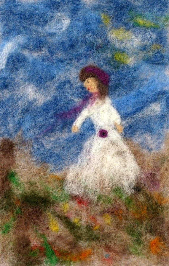 Needle Felt Wall Hanging of Woman in Meadow by cindyrquilts, $62.00