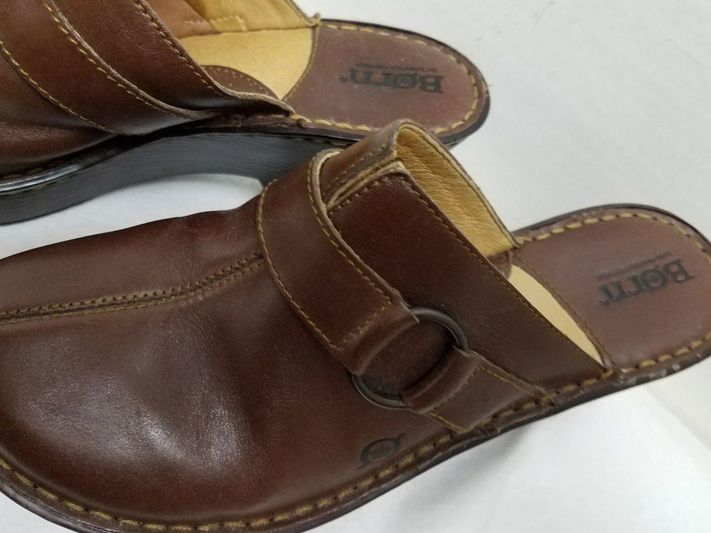 Donna BORN Sz 8 Buckle Strap marrone marrone marrone Pelle Mule Clogs Gently Worn 8e0fba