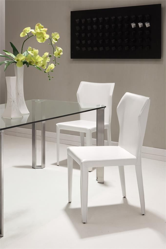 Zuo Dining Room Furniture White Upholstery Chair Glass Table Top