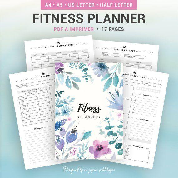 FITNESS PLANNER à imprimer, fitness journal, santé, bien-être, régime, perte de poids, journal alime...