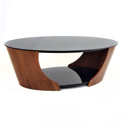 Perfect Modern Oval Walnut Coffee Table With Smoked Glass Victor