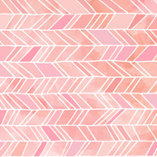 Colorful fabrics digitally printed by Spoonflower - Pink + Peach Watercolor Chevron Herringbone, ROTATED