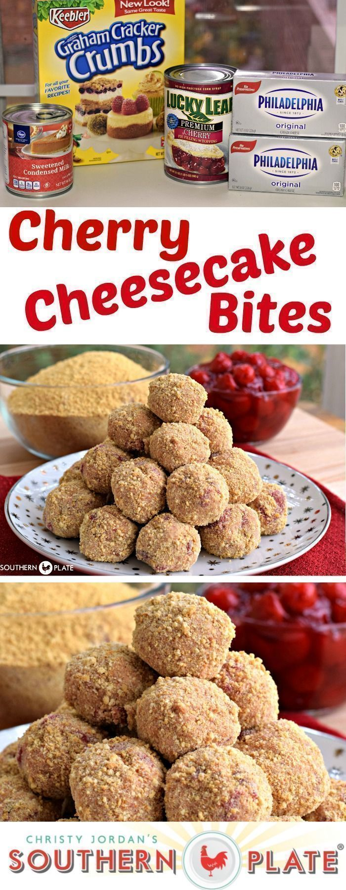 Cherry Cheesecake Bites - All the yum in bite size form! #easy #recipes #desserts #cheesecake #cheesecakes