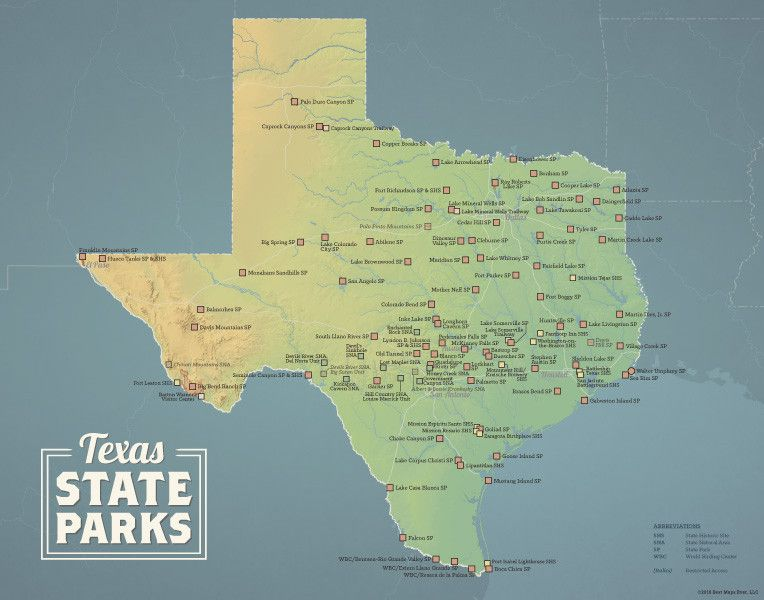 Texas State Parks Map 11x14 Print | State parks, Us ...