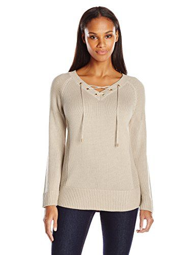 c12aa874dc Calvin Klein Womens Lace Up V-Neck Sweater