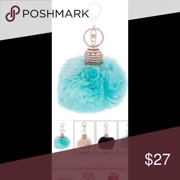 """Crystal Accent ORB Furry PomPom Keychain Crystal Accent ORB Furry PomPom Keychain drop approximately 6.5"""" lead/nickel compliant colors are beige black mint if you want to save money bundle 3 items for 15% off other wise it's firm price Accessories Key & Card Holders"""