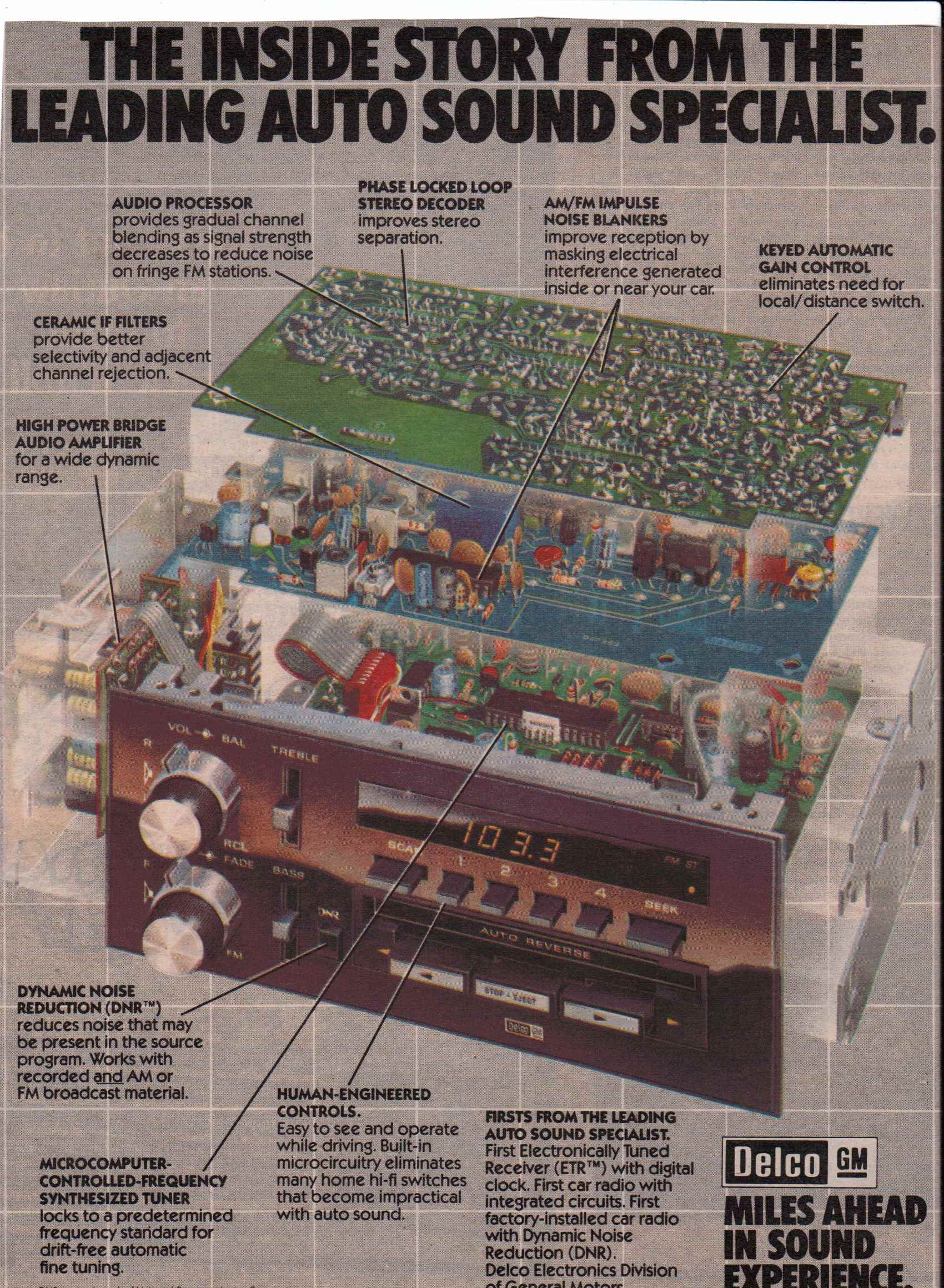 1980 Delco GM cassette stereo | Vintage Car Audio Ads in