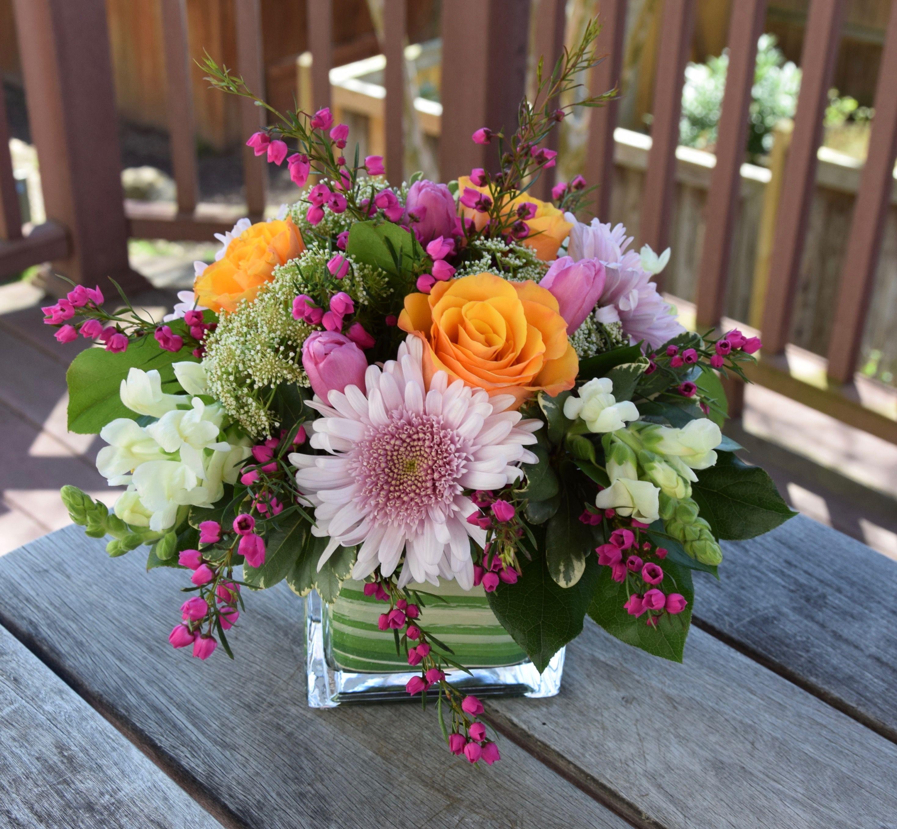 Flower arrangement with boronia flower arrangements