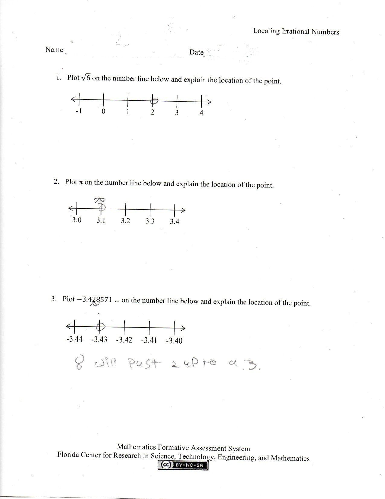 Estimating Irrational Numbers Worksheet Rational Numbers