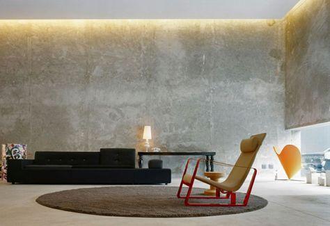ideen für wandgestaltung wohnzimmer beleuchtung betonwände Wohnung