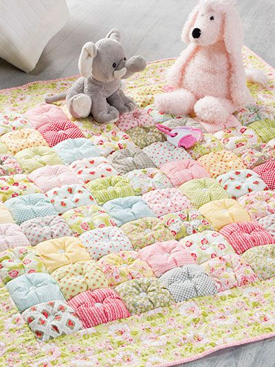 Puff Quilt Pattern is part of Puff quilt, Puff quilt pattern, Baby quilts, Bubble quilt, Puffy quilt, Childrens quilts - This is a great project for a floor quilt for a little one if the buttons are not used, or use it as a lap quilt to keep handy if a chill arises  Finished size is 48  x 48