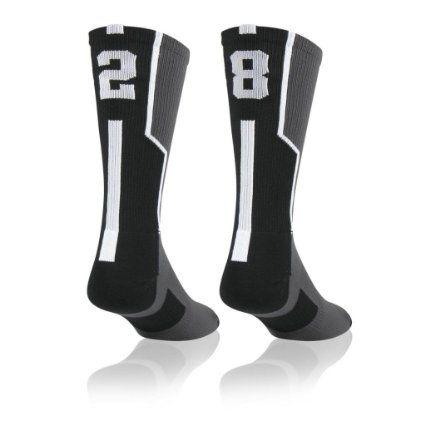 Athletic Socks by ChalkTalkSPORTS Custom Team Number Crew Socks Gray /& Black All Team Numbers