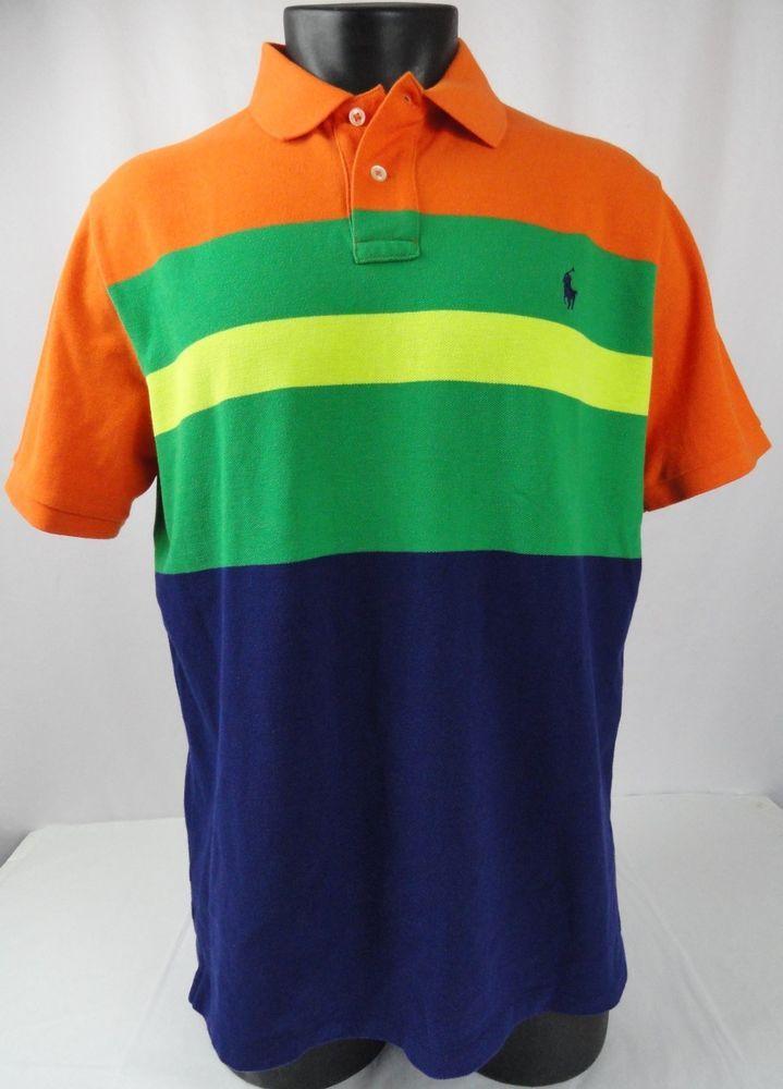 fa07007263 NWT Polo Ralph Lauren XL Polo Shirt Striped ColorBlock Orange/Blue/Yellow/ Green #PoloRalphLauren #PoloRugby