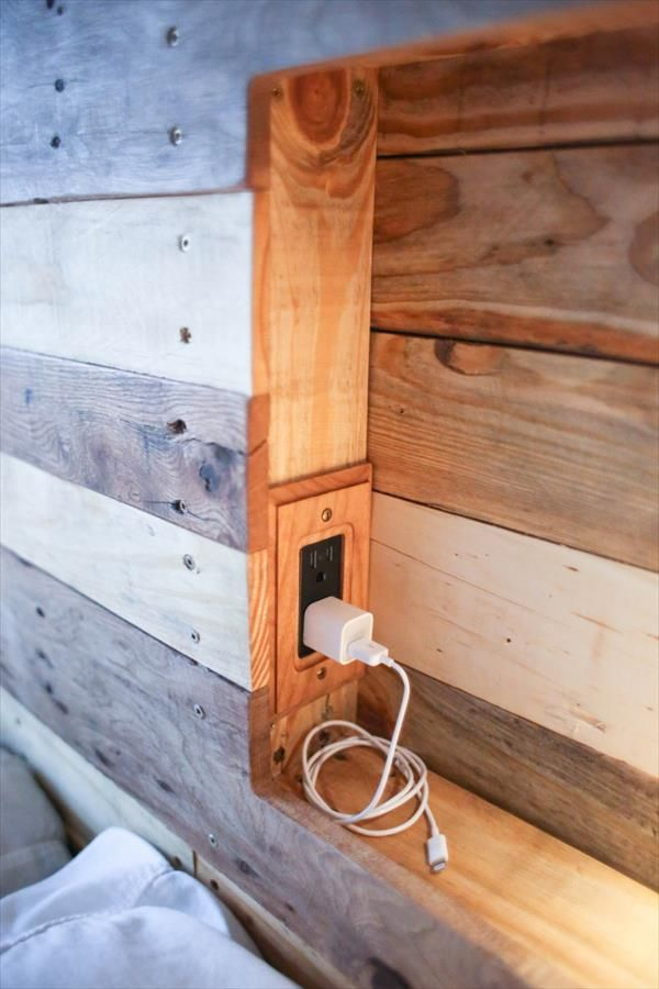 Pallets Bed Headboard With Integrated Lightning