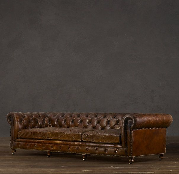 Kensington Leather Sofa Restoration Hardware Penny Mustard Bed In Vintage Cigar