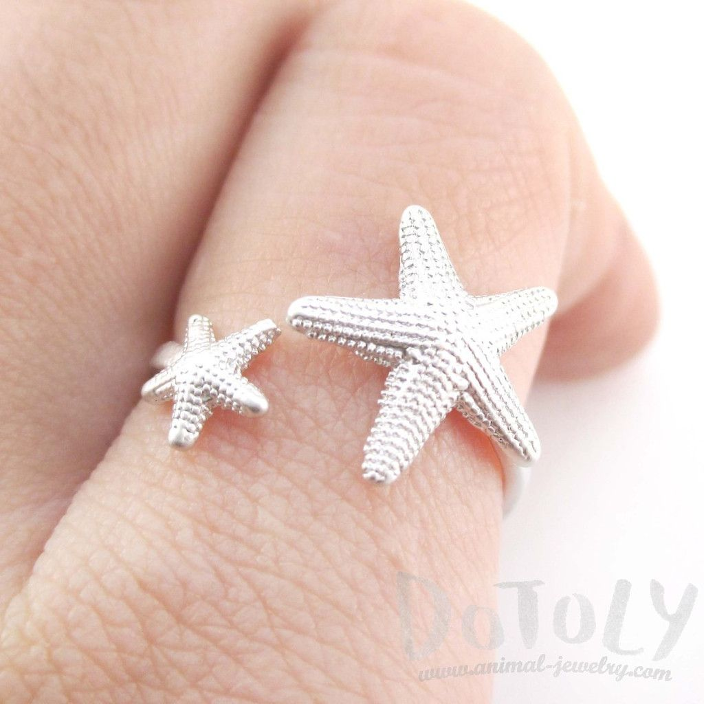 Ocean Inspired Starfish Shaped Open Adjustable Ring in Silver ...