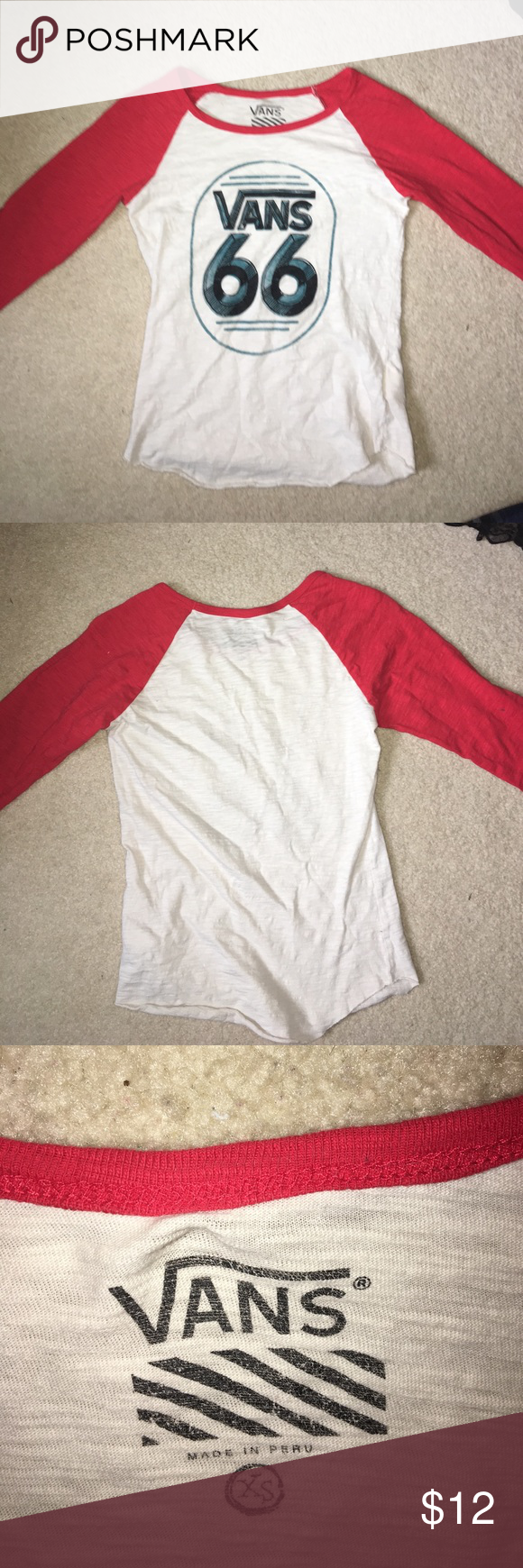Vans quarter sleeve baseball tee The indicated size is an xs but can definitely fit a small or medium. Worn twice! Practically brand new. Vans Tops