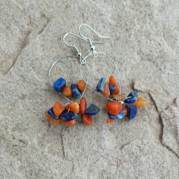 Guitar string earrings made with natural stones.