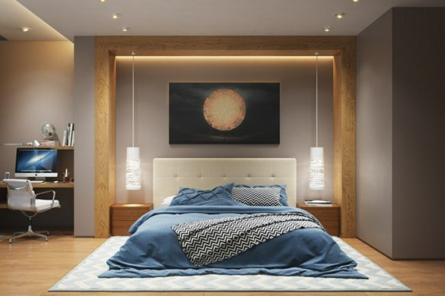 beleuchtung-schlafzimmer-gold-blau-akzente-pendel-schreibtisch ...
