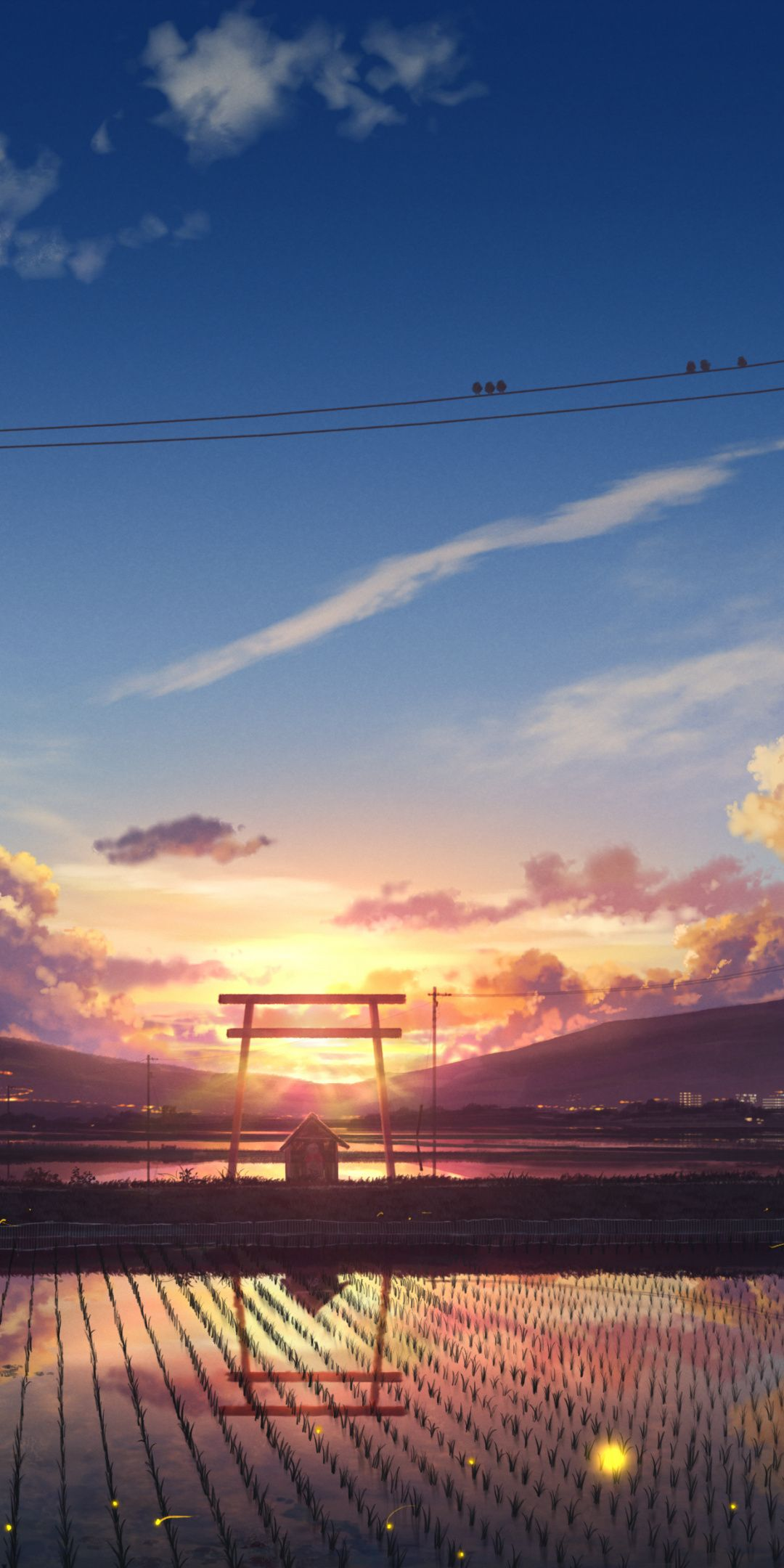 Make sure to like and s. 1080x2160 Farms, landscape, village, sunset, anime