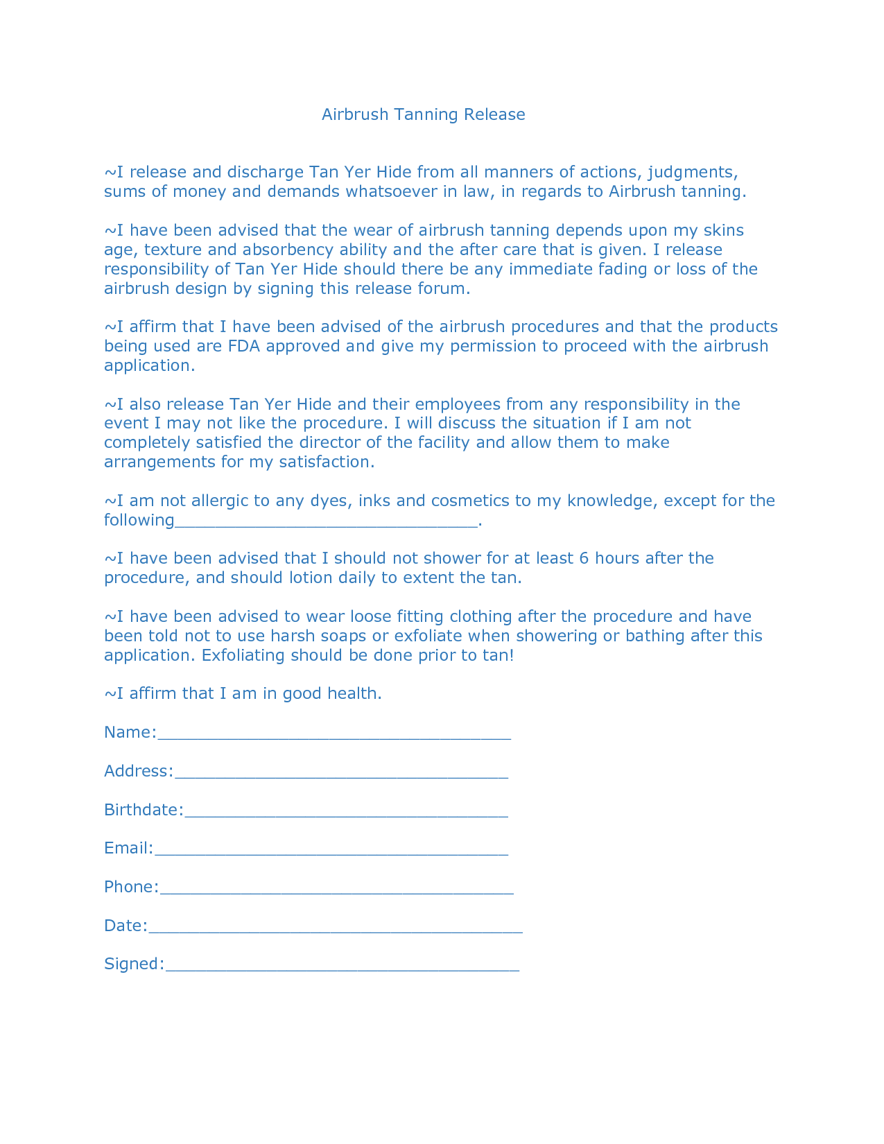 Spray Tan Release Forms