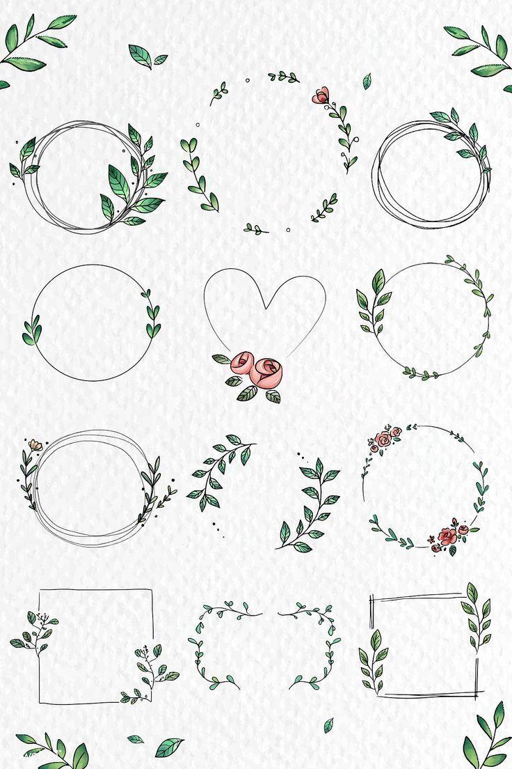Download præmieillustration af doodle blomsterkransvektorsamling