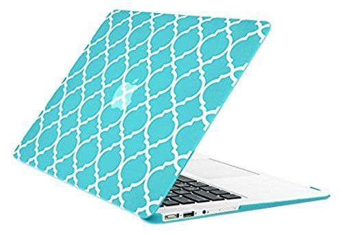 "Hot Blue Quatrefoil / Moroccan Trellis Ultra Slim Light Weight Hard Case Cover for Apple MacBook Air 11"" Model: A1370 and A1465"