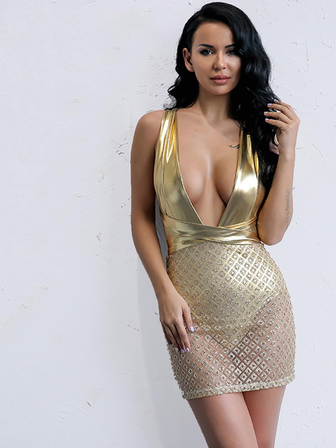 Sexy Sheer and Backless and Knot and Criss Cross and Contrast Sequin Plain Bodycon Deep V Neck Sleeveless Natural Gold Short Length Joyfunear Plunging Neck Crisscross Backless Dress #shortbacklessdress