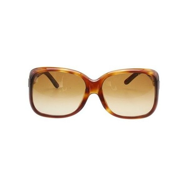 b3bb75e6d4c3 Pre-Owned Tom Ford Alissa tf119 Brown Plastic Square Sunglasses ( 78) ❤  liked on Polyvore featuring accessories