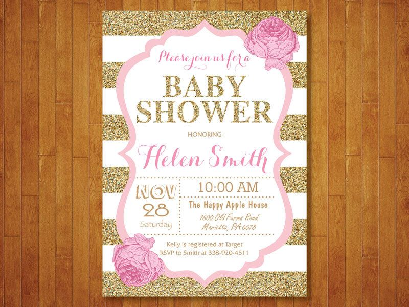Pink and Gold Baby Shower Invitation. Pink Black Gold Glitter ...