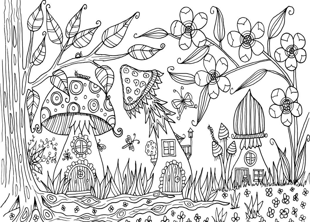 Environmental coloring activities - Coloring Page Mandala Mushroom Forest
