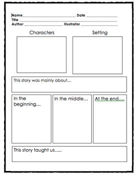 Story Map With Central Message Central Message First Grade