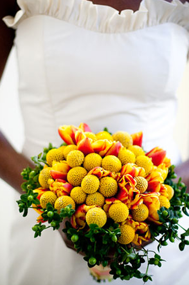 Craspedia And Tulip Bouquet Yellow Wedding Flowers Billy Buttons Yellow Bridal Bouquets