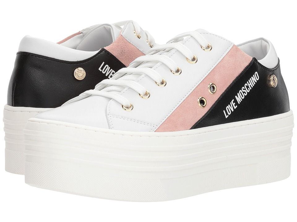 LOVE Moschino Platform Sneakers Women s Shoes White Pink Black ... 91307e36f251
