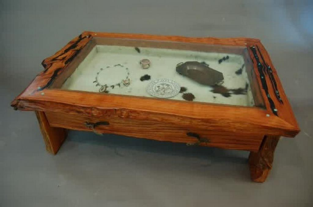 Custom Cowhide Shadow Box Coffee Table And Display