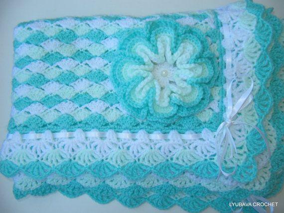 CROCHET PATTERN Baby Blanket Turquoise With by LyubavaCrochet Crochet-Knitt...