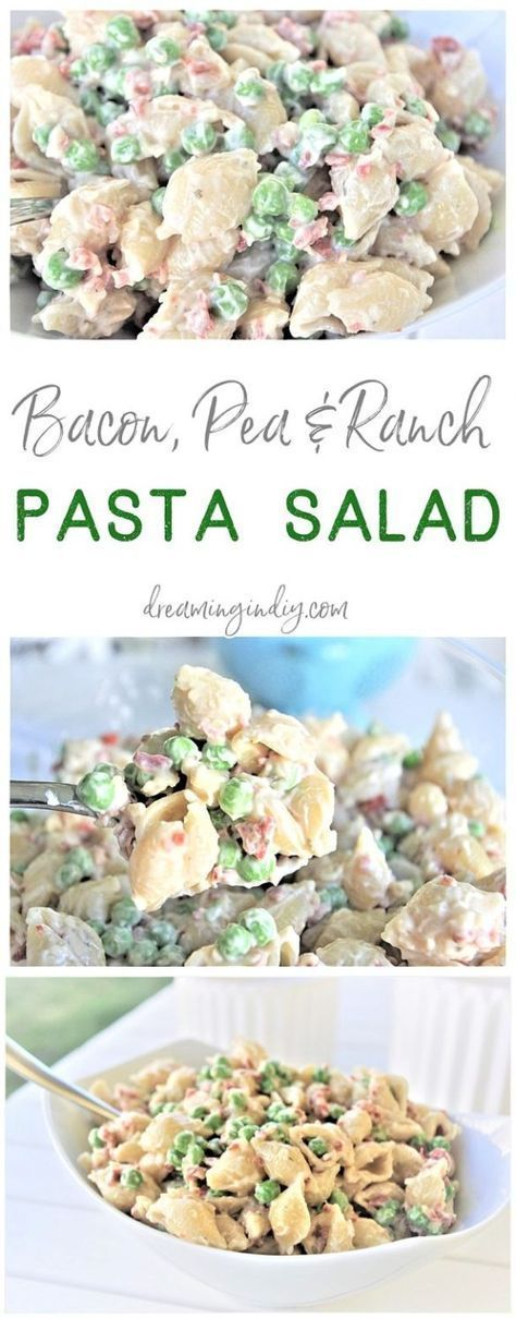Creamy Bacon Pea and Ranch Pasta Salad - Quick and Easy Side Dish images