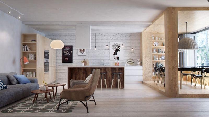 Offene Küche mit Wohnzimmer -ziegelwand-essbereich-hell-holz - offene kuche wohnzimmer ideen