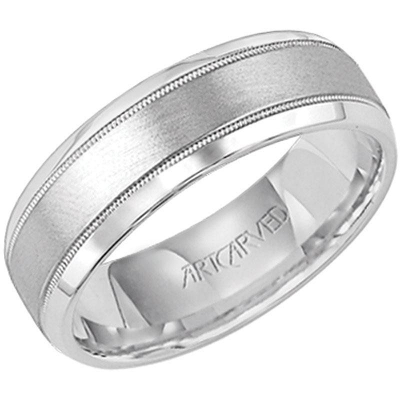 Greenwich Jewelers Artcarved Double Milgrain Edge Mens Wedding