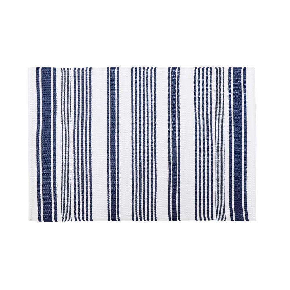 Tappeto da esterno écru con motivi a righe blu, 120x180 cm
