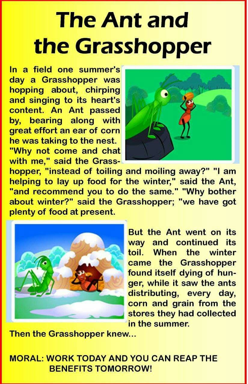A List Of Fables And Their Morals grasshopet | english stories for kids, moral stories for