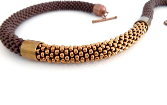 Beaded Necklace/Rope Necklace/Bronze by Luthopika on Etsy