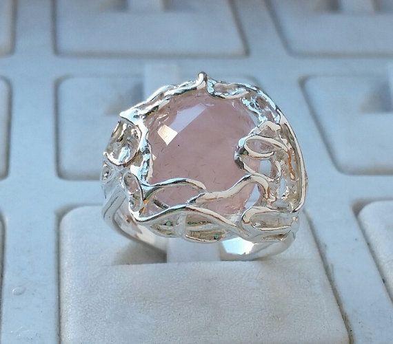 Friendship Ring easter sale Handmade Rose Quartz Ring express shipping Rose Quartz Silver Ring Statement Ring