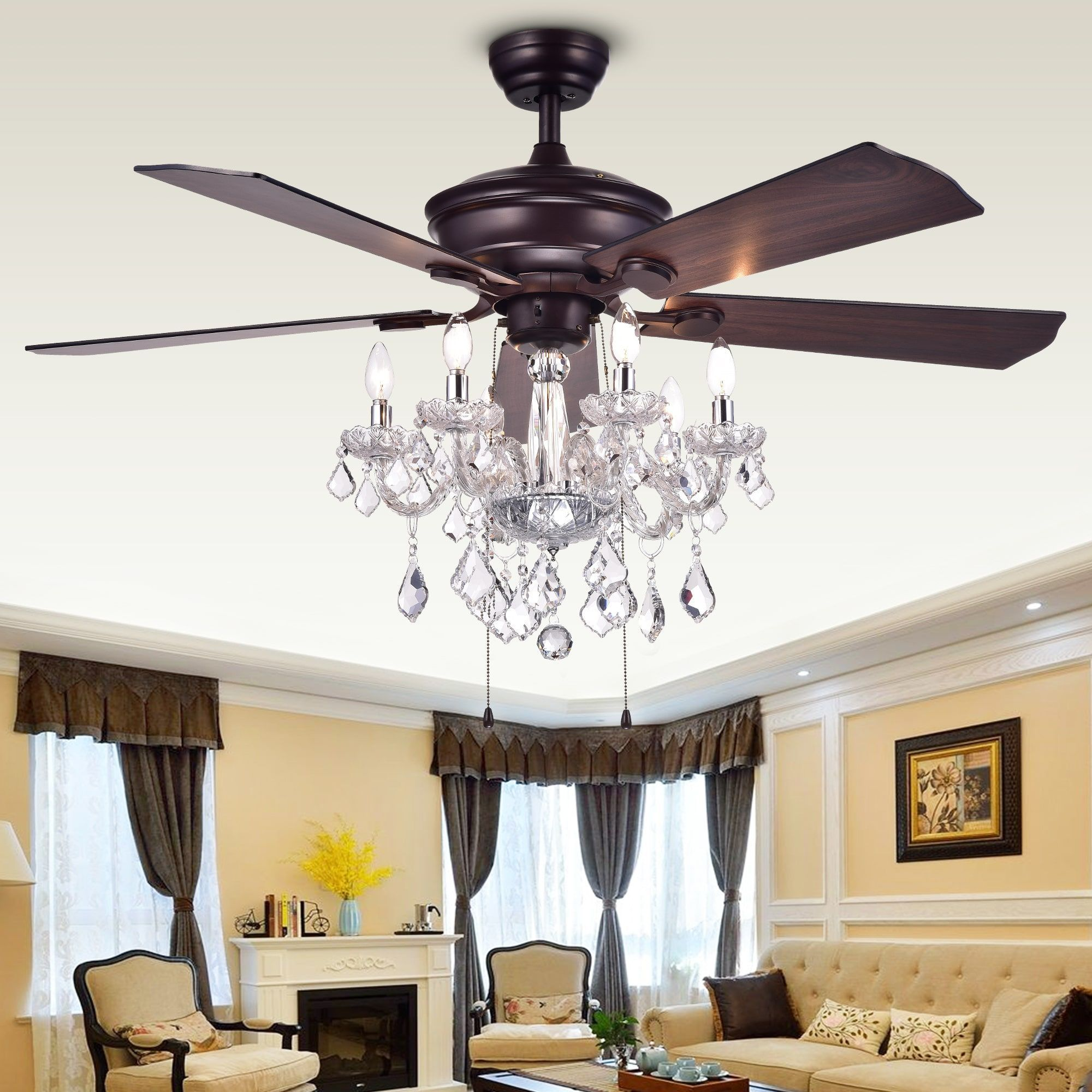 Warehouse Of Tiffany Havorand 52 Inch 5 Blade Ceiling Fan With Crystal Chandelier Brown Bronze