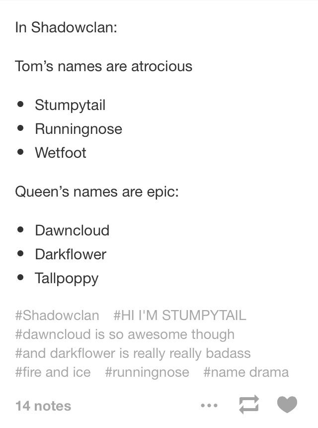 In ShadowClan: toms names' are atrocious and queens names