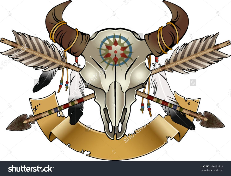 Native american indian symbol buffalo skull with arrows and native american indian symbol buffalo skull with arrows and feathers biocorpaavc Choice Image